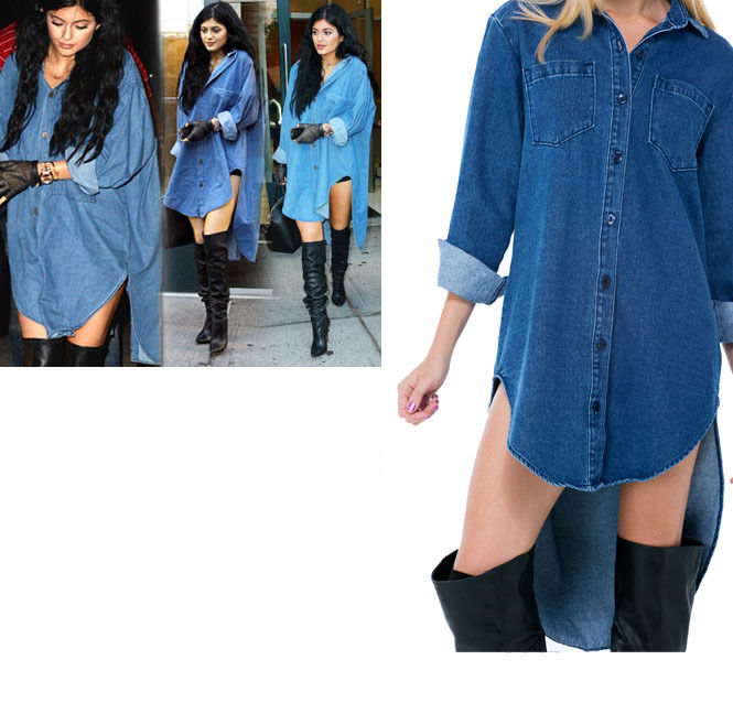 Women Celebrity KYLIE Style Oversize Denim 11610 Tunic Shirt S M L
