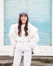 irene closet,blogger,jacket,coat,faux fur coat,pants,t-shirt,winter outfits