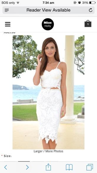 dress white lace midi dress