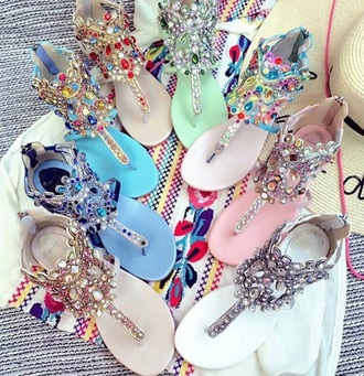 shoes flat sandals embellished sandals jeweled sandals