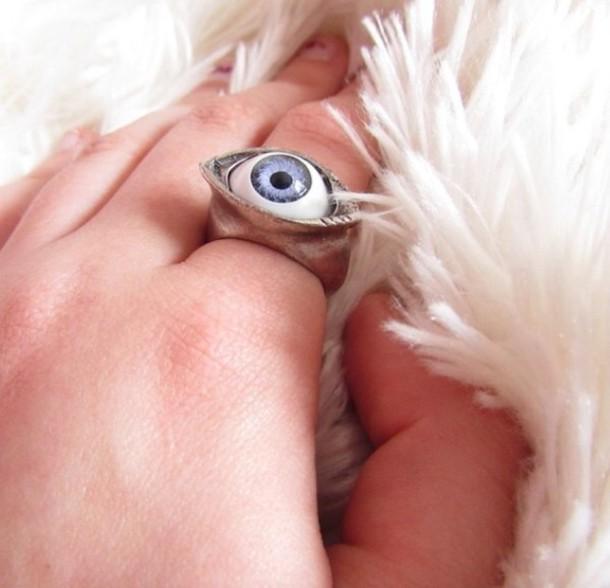 jewels jewelry eye eyes light blue silver gold small weird cool chillin bizarre grunge