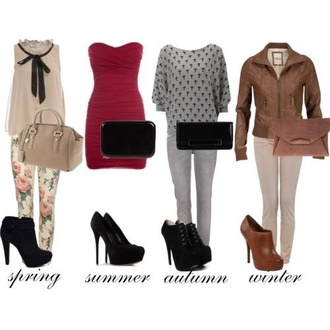 dress red dress summer outfits winter outfits fall outfits spring outfits cute jacket clutch sweater crosses strapless dress high heels boots jeans floral leather jacket fashion seasons shoes blouse bag