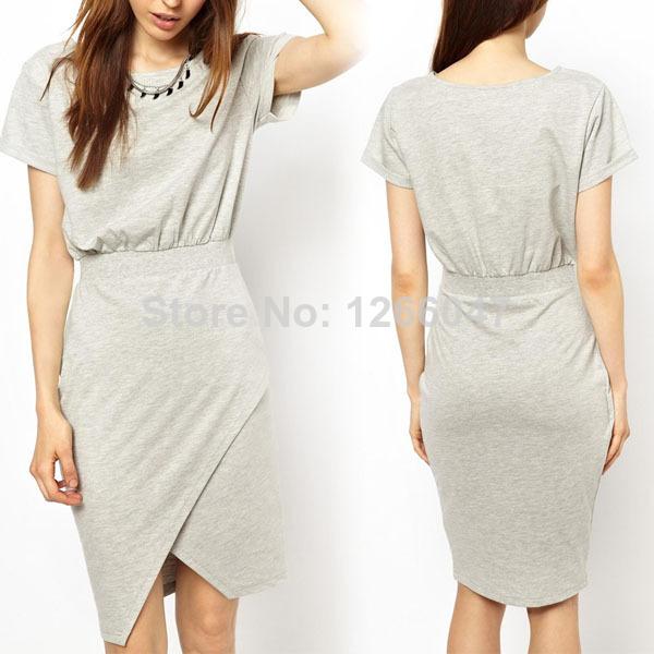 2014 New Fashion Women Lady Crew Neck Shirt Short Sleeve High Waist Casual Dress Free shipping | Amazing Shoes UK
