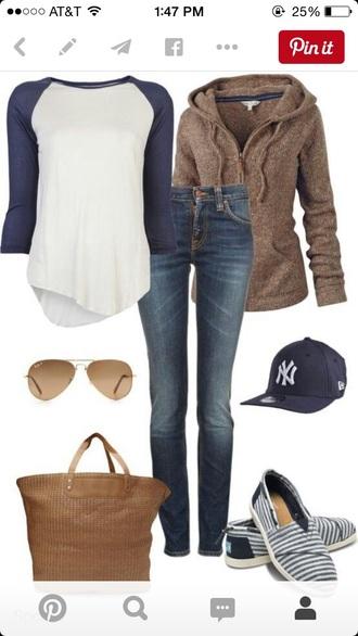 shirt white baseball tee navy jeans jacket