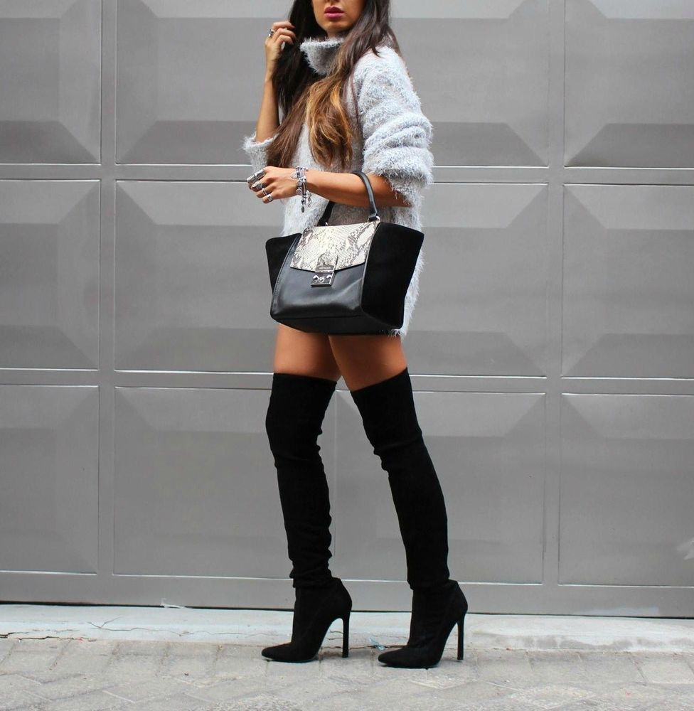 OVER THE KNEE HIGH HEEL LEATHER POINTED TOE BOOTS Ref. 5001/001