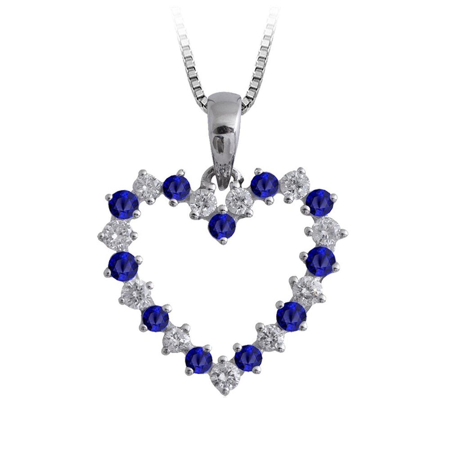 Amazon.com: 14K White Gold Heart Diamond and Sapphire Pendant Necklace (GH, I1-I2, 0.60 ct): Jewelry