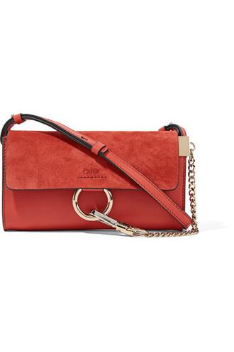 mini bag shoulder bag leather suede red