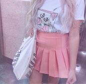 shirt,peach,pink,pastel,japanese,japan,tumblr,pastel goth,aesthetic,asthetic,aesthetic tumblr,aesthetic grunge,tumblr aesthetic,tumblr girl,tumblr outfit,aesthetic shirt,kawaii,kawaii grunge,kawaii shirt,pastel pink,white t-shirt,pleated skirt,pink skirt,harajuku