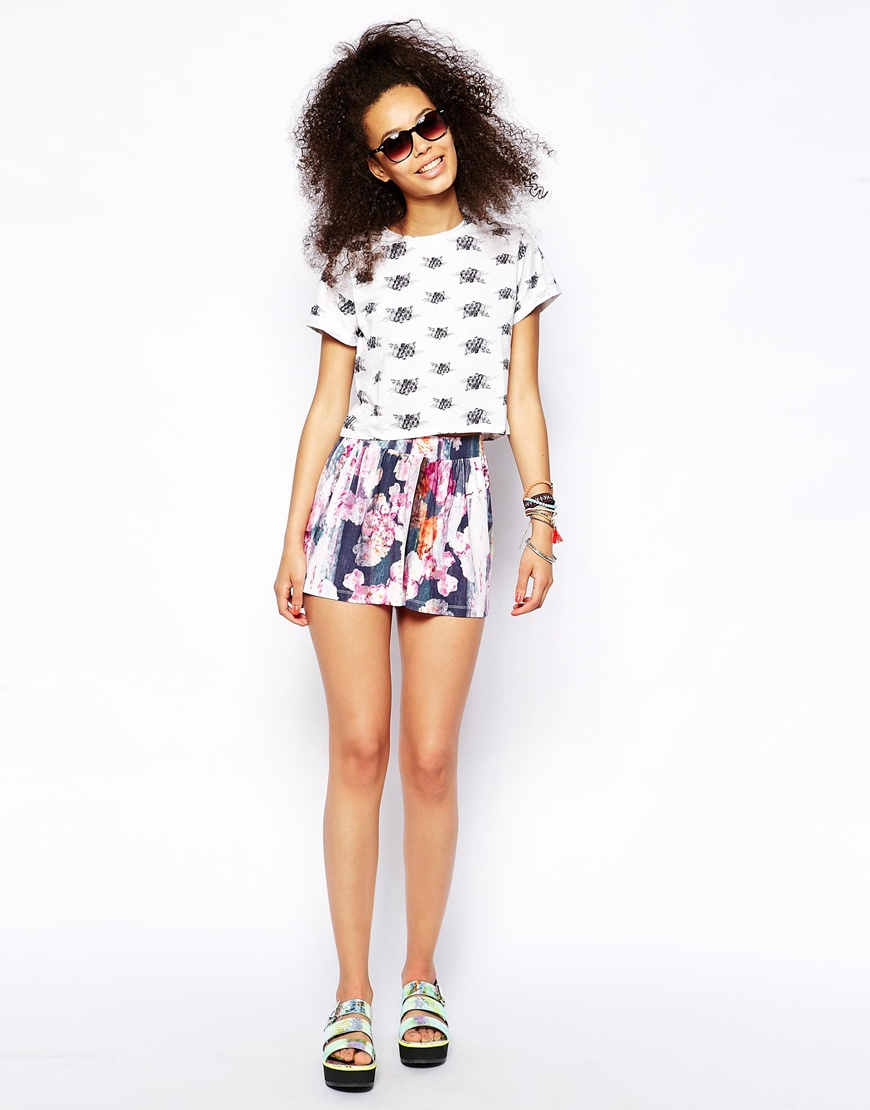 ASOS Culotte Shorts in Blurred Floral Print at asos.com