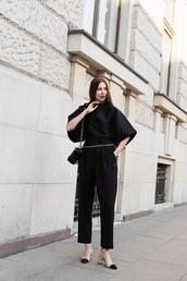 top,black top,shoes,heels,pants,black pants,bag,belt bag