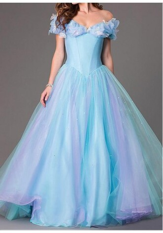 dress ball gown dress blue dress prom dress prom prom dresses 2015 luxury fairy tale discount online off the shoulder tulle skirt evening dress cinderella dress