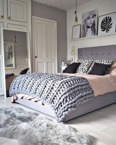 Home Accessory Tumblr Blanket Chunky Knit Decor Furniture Bedroom Pillow Mirror