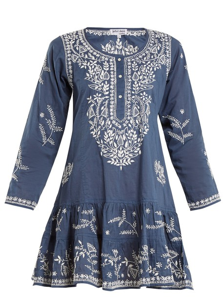 embroidered cotton blue top