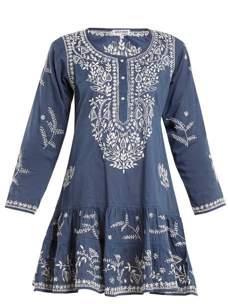 Juliet Dunn embroidered cotton blue top