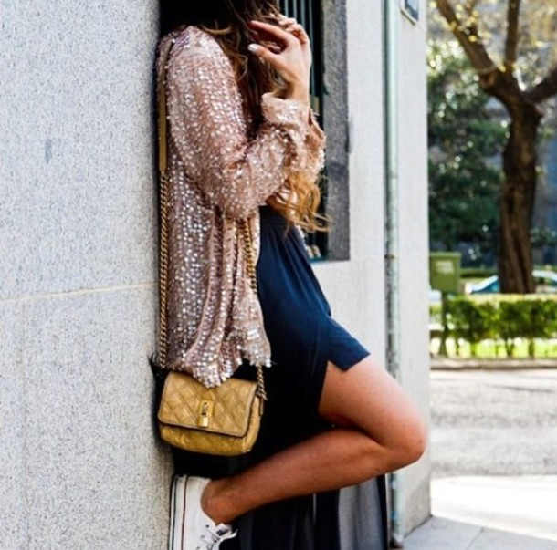 Jacket: cardigan, navy dress, gold sequins, gold sequin cardigan ...