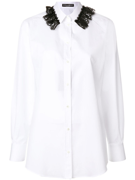 Dolce & Gabbana - lace detail shirt - women - Cotton/Spandex/Elastane - 40, White, Cotton/Spandex/Elastane