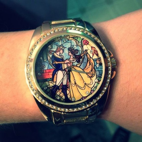 disney jewels beauty and the beast clock watch