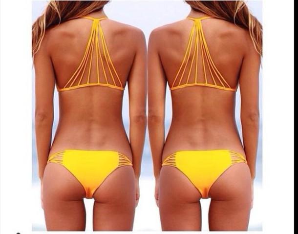 swimwear bikini bikini top orange yellow bright style