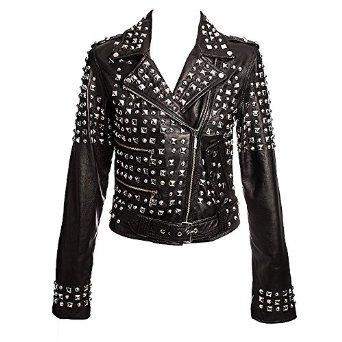 Kill star studded leather jacket (black): amazon.co.uk: clothing