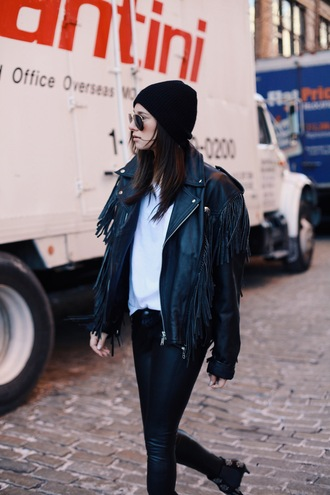 we wore what blogger leather jacket fringed jacket leather pants