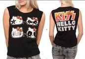 shirt,hello kitty,kiss,cute shirt,cute,black,no sleeves,rock