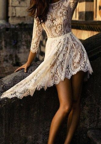 beautiful white summer outfits dress lace see through summer dress sleeves white lace