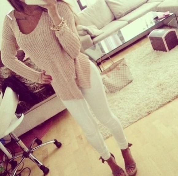 beige beige sweater nude sweater dope indie grunge vogue