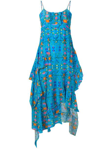 PREEN BY THORNTON BREGAZZI dress women blue silk