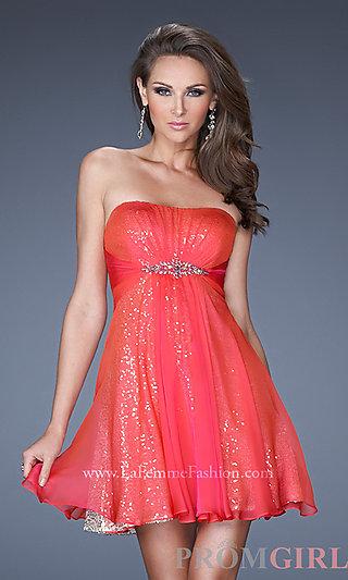 Strapless Dress for Homecoming, La Femme Sequin Dresses- PromGirl