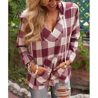 top red plaid gingham v neck fall outfits hooded drawstring dark red