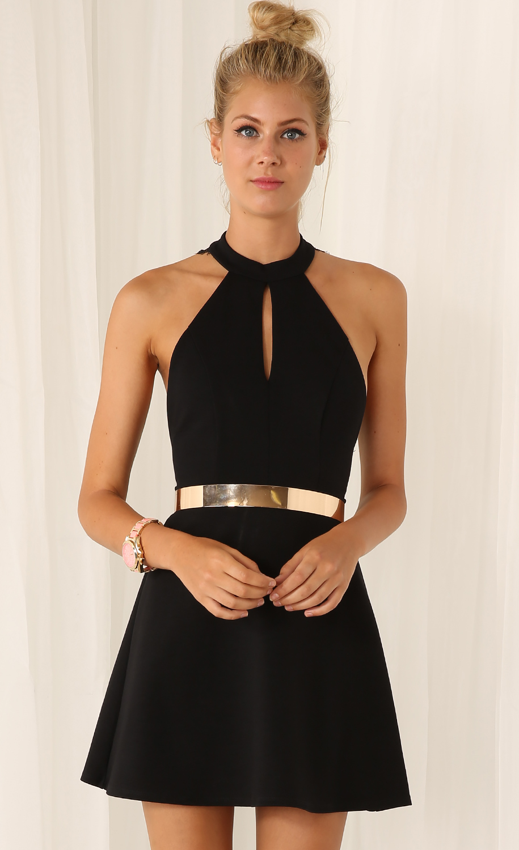 532b6d1c4c Black Halter Contrast Lace Backless Dress - Sheinside.com