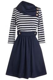 dress,combo dress,oblique dress,striped top,sailor dress,oblique,striped dress,elegant dress,blue dress