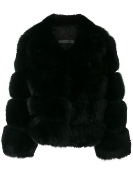 SIMONETTA RAVIZZA jacket fur fox women black silk