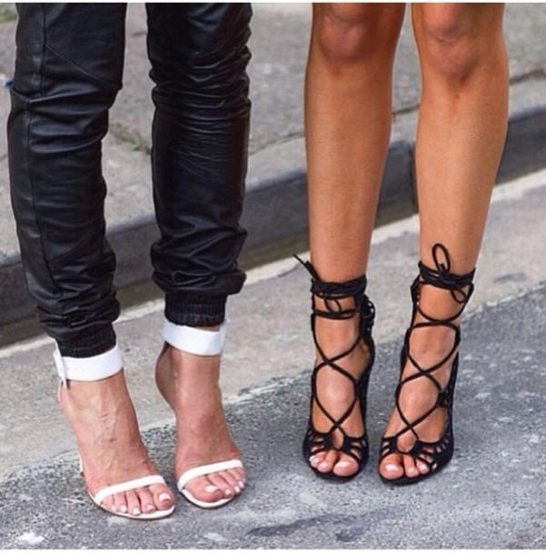 shoes black high heels pants