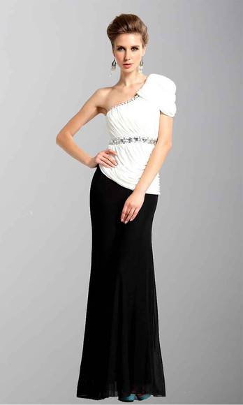 one shoulder long prom dresses long formal dress one shoulder dresses cap sleeve dress two colors black and white dress trumpet dress evening dress