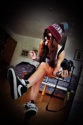 hat,beanie,burgundy,bobble hat,nike blazer,black and white,trainers,shoes,rainbow,nike,black,white