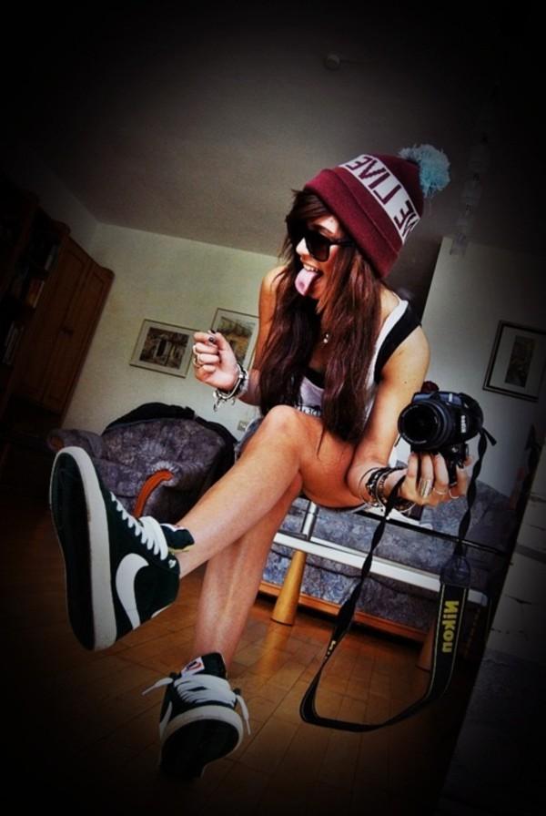 hat beanie burgundy bobble hat nike blazer black and white trainers shoes rainbow nike black white