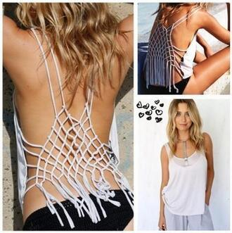 shirt white sexy tassel straps beach t-shirt sexy blouse white top backless summer girl fashion best outfit