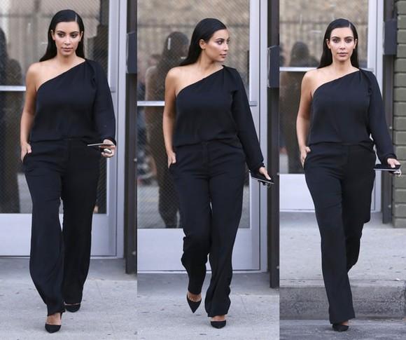 one shoulder jumpsuit kim kardashian