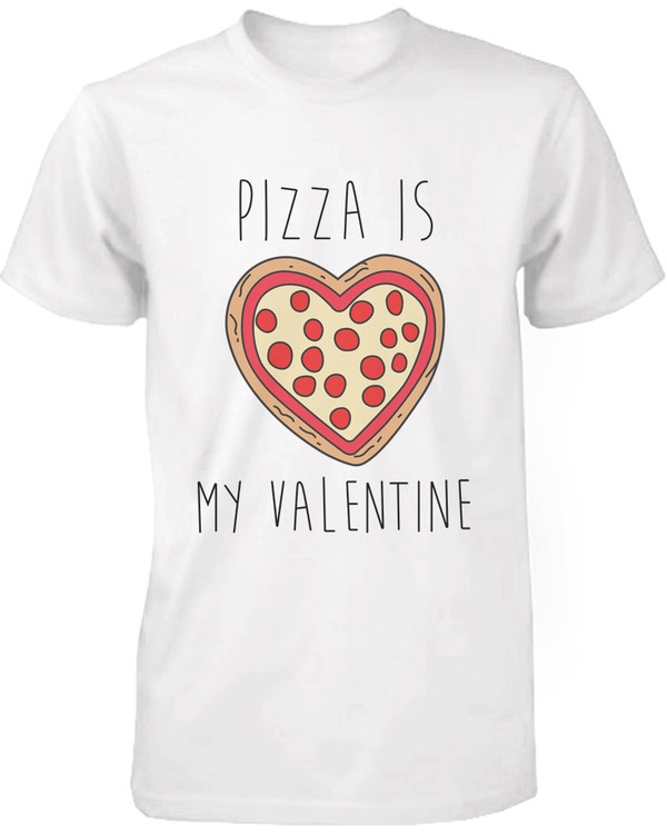 amazoncom mens white cotton t shirt pizza is my valentine funny graphic tee clothing