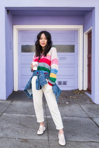 sweater stripes striped sweater pants white pants sneakers white sneakers multicolor