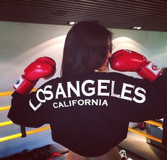 blouse kendall jenner black t-shirt los angeles boxing
