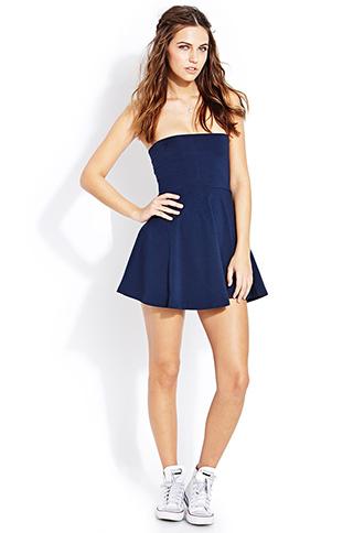 Royal Blue Tube Top Skater Dress - JuJu's Closet