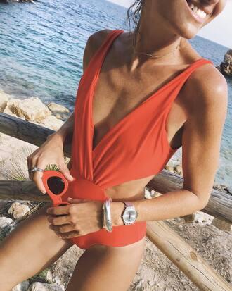 swimwear tumblr one piece swimsuit red swimwear v neck plunge v neck sunglasses red sunglasses