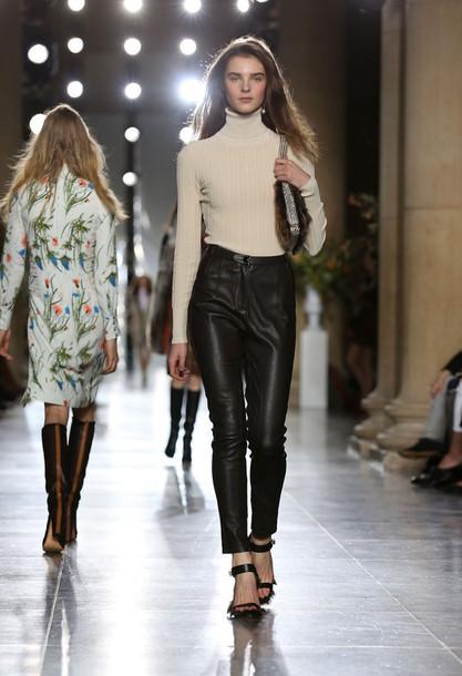 pants fashion week 2015 leather pants turtleneck
