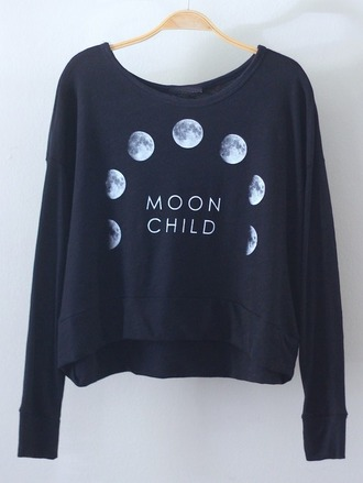 moon moon shirt moon child child black shirt sweatshirt pullover black and white white shirt quote on it black text moon phases phases space planets galaxy print grunge soft grunge crewneck black pullover white pullover