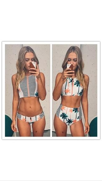 swimwear palm tree print bikini top bikini bottoms