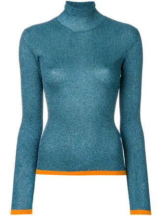 sweater high women high neck blue