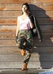sweat the style,blogger,tank top,camouflage,camo pants,timberland,urban,bomber jacket,winter swag