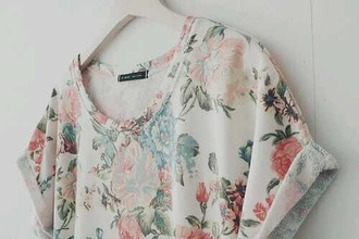t-shirt flowers white vintage cool shirts nice floral beautiful blouse